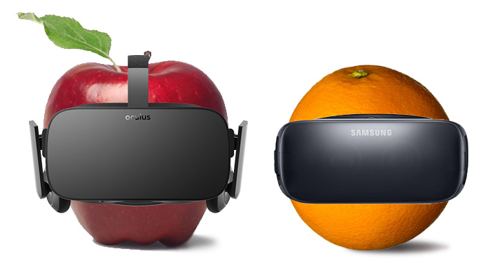 Apples and Oranges Virtul Reality Products Oculus Facebook VR headset Comparison